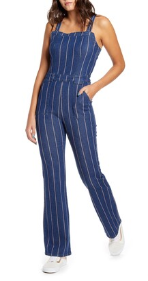 Prosperity Denim Pinstripe Flare Denim Jumpsuit