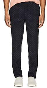 Officine Generale MEN'S PAUL EMBROIDERED WOOL TROUSERS-NAVY SIZE 48 EU