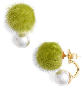 WILD AND WOOLLY Faux Fur Pom & Imitation Pearl Earrings