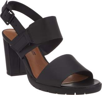 Clarks Leather Block Heel Adjustable Sandals - Kurtley Shine