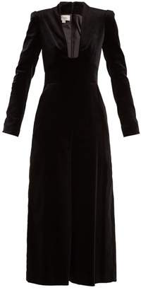 Temperley London Opus Cotton Blend Velvet Jumpsuit - Womens - Black