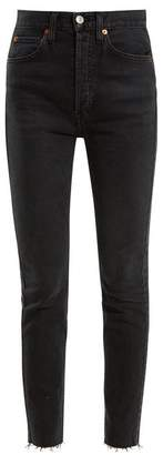 RE/DONE Frayed Hem High Rise Skinny Jeans - Womens - Black