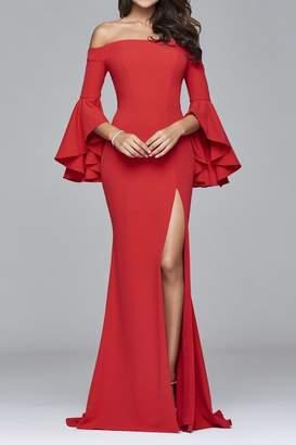 Faviana Beautiful Ruffle-Sleeve Gown