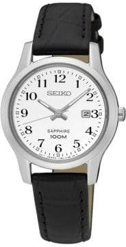 Seiko Automatic Sapphire Stainless Steel Leather Strap Watch