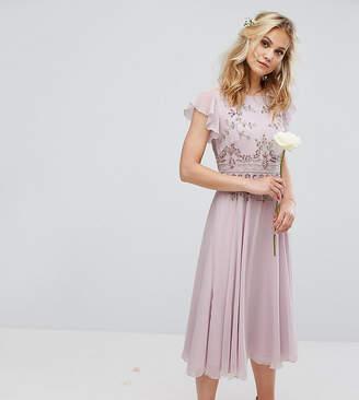 Maya Midi Dress with Lace Embellishment and Circle Skirt In Chiffon