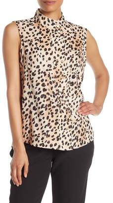 DKNY Leopard Print Mock Neck Sleeveless Blouse