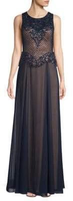 Basix II Black Label Embroidered Peplum Gown