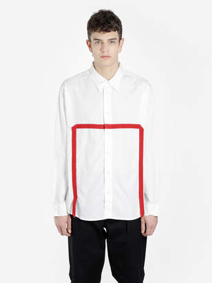 Visvim WHITE LONG SLEEVE WORK SHIRT WITH RED BANDS