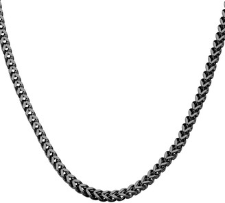 Men's Black Stainless Steel Franco Chain Necklace