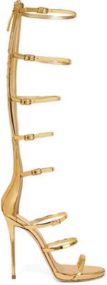 Giuseppe Zanotti - Metallic Leather Sandals - Gold $1,300 thestylecure.com