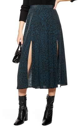 Topshop Box Pleat Midi Skirt