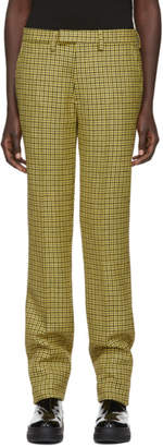 Raf Simons Yellow Houndstooth Wool Slim Trousers