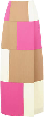 DELPOZO Patchwork Wool And Silk-Blend Maxi Skirt