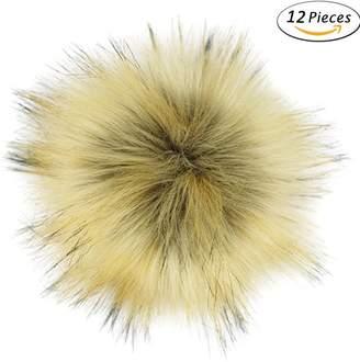 Dr Nezix DIY 12 Pcs Mix Colors Fluffy Pom Pom Faux Fox Fur Pompom Ball for Hats Scarves Bag Shoes Keychain Charms (Brown 12 pieces)