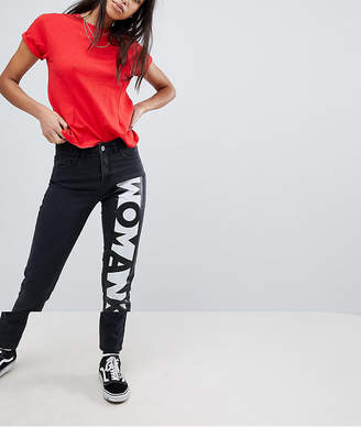 Noisy May Mom Jeans With Woman Slogan