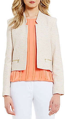 Calvin Klein Tweed Stripe Suiting Notched V-Neck Open Front Jacket $139 thestylecure.com