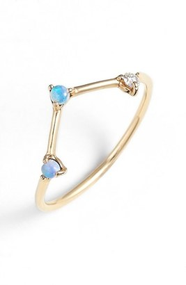 Women's Wwake Counting Collection Three-Step Triangle Opal & Diamond Ring $419 thestylecure.com