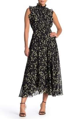 MelloDay Floral Mock Neck Maxi Dress