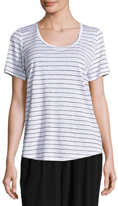 Eileen Fisher Organic Linen Striped Tee, White/Black, Plus Size $138 thestylecure.com