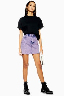 Topshop Womens Purple Acid Wash Mini Skirt - Purple