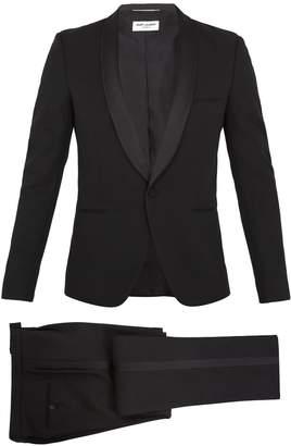 Saint Laurent Shawl-collar satin-trimmed wool tuxedo