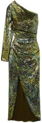 Elie Saab One-shoulder Sequined Silk-tulle Dress - Green