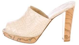 Stuart Weitzman Embossed High Heel Slide Sandals