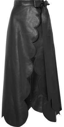 Valentino Scalloped Leather Wrap Skirt - Black