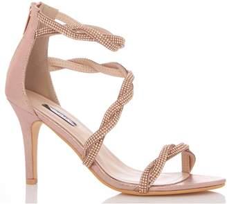 e4ce31f2e1a6 Next Womens Quiz Diamanté Twist Asymmetric Strap Mid Heel Sandals