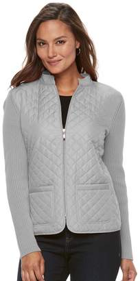 Croft & Barrow Women's Quilted Zip Sweater Jacket