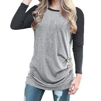f1c450a7e95 Tenworld W Womens Color Block Tunic Tops Long Sleeve T-Shirts Blouses with  Buttons