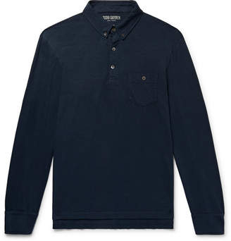 Todd Snyder Button-Down Collar Slub Cotton-Jersey Polo Shirt