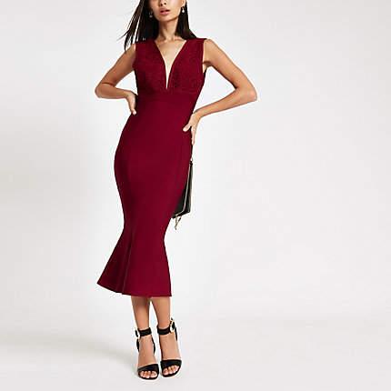 Womens Forever Unique Red peplum bodycon midi dress