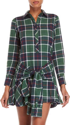 Derek Lam 10 Crosby Flannel Tie Waist Shirt Dress
