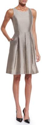 Armani Collezioni Sleeveless Fit-&-Flare Dress, Tan $1,295 thestylecure.com