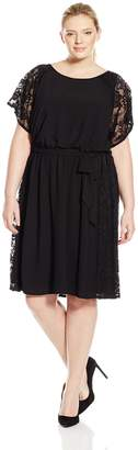 Amy Byer Women's Plus-Size Dress Dolman Sleeve Lace Inset Night and Day Dress