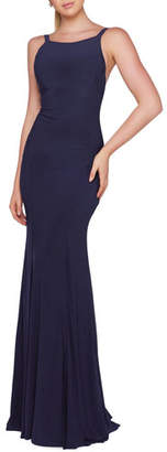 Mac Duggal Ieena for High-Neck Sleeveless Fitted Jersey Gown with Open-Back