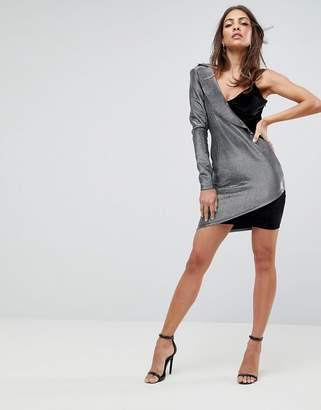 Asos Tux Metallic One Shoulder Mini Bodycon Dress