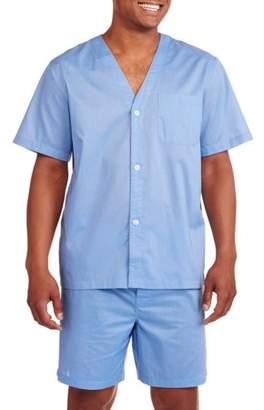 Fruit of the Loom Men's Short Sleeve Knee-Length Pant Solid Pajama