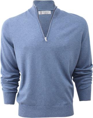 BRUNELLO CUCINELLI Bi-Color Half Zip Pullover $1,095 thestylecure.com