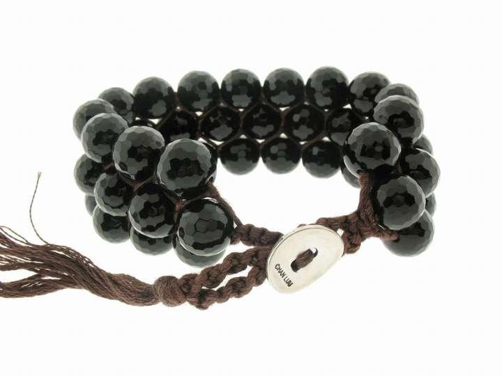 Chan Luu 3 Row Faceted Black Onyx Bead Bracelet