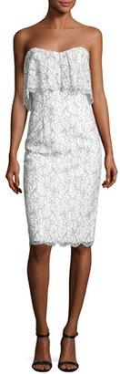Black Halo Strapless Lace Popover Cocktail Dress, White/Black $345 thestylecure.com