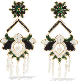 Mercedes Salazar Tropic Gold-tone, Bead And Faux Pearl Clip Earrings - Green