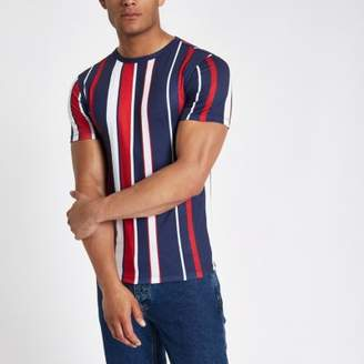 River Island Red vertical stripe muscle fit T-shirt