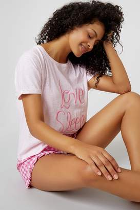 Boux Avenue Womens Embroidered Shorts PJ Set - Pink