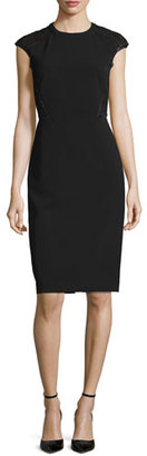 Lafayette 148 New York Cap-Sleeve Talon Sheath Dress w/ Lace Back, Black $698 thestylecure.com