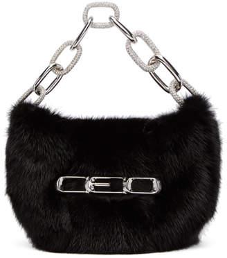 Alexander Wang Black Fur Micro Mini CEO Bag