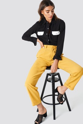 Na Kd Trend High Waist Wide Leg Pants Mustard Yellow