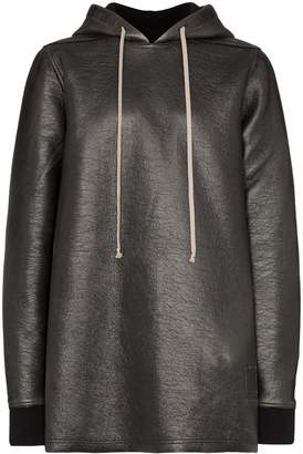 Rick Owens oversized faux-leather hoodie