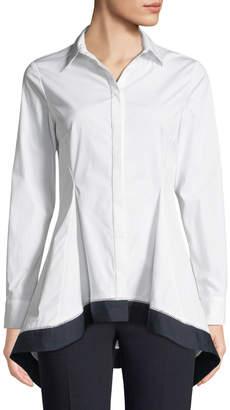 Lela Rose Flared-Hem Long-Sleeve Button-Front Shirt